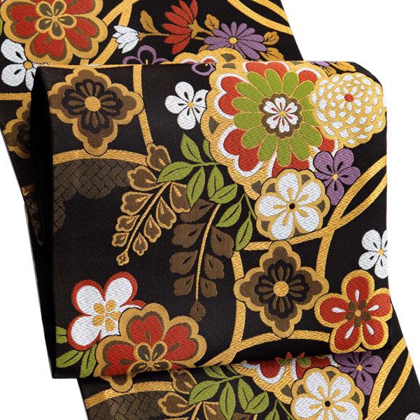 振袖 帯「黒地 輪繋ぎに桜」 日本製 ポリエステル帯 お仕立てあがり 振袖用 袋帯 お仕立て済 振袖帯 二重太鼓 変わり結び可能 <T>【メール便不可】
