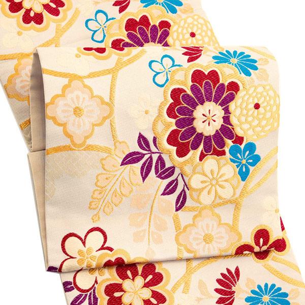振袖 帯「ベージュ 輪繋ぎに桜」 日本製 ポリエステル帯 お仕立てあがり 振袖用 袋帯 お仕立て済 振袖帯 二重太鼓 変わり結び可能 <T>【メール便不可】
