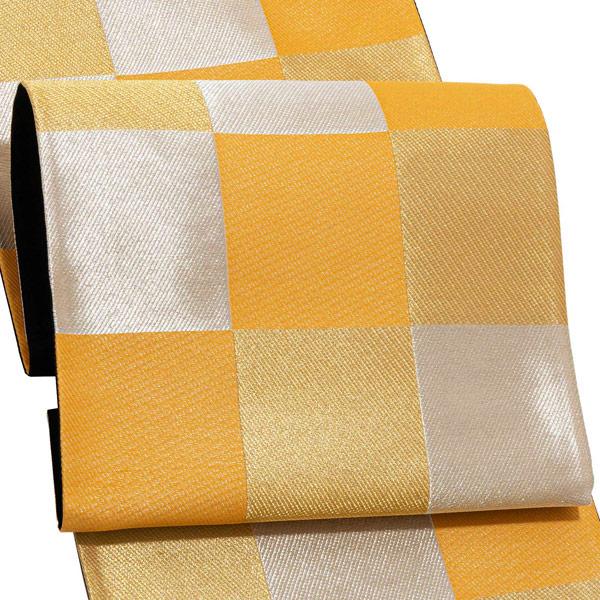 振袖 帯 「山吹色 金銀の市松」 日本製 絹 未仕立て 六通柄 振袖用 袋帯 振袖帯 【メール便不可】