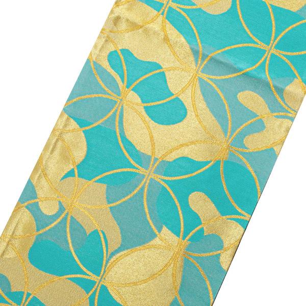 振袖 帯 「水色 金七宝」 日本製 絹 未仕立て 六通柄 振袖用 袋帯 振袖帯 【メール便不可】