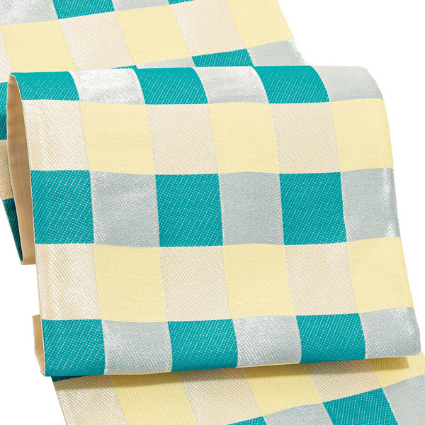 振袖 帯 「ターコイズブルー×銀 格子」 日本製 未仕立て 六通柄 振袖用 袋帯 振袖帯 【メール便不可】
