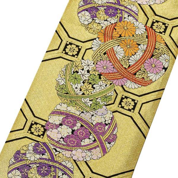 振袖 帯 「金地 花手毬」 日本製 未仕立て 六通柄 振袖用 袋帯 振袖帯 【メール便不可】