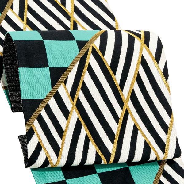振袖 帯 「縞市松 黒×ミント」 日本製 西陣織 証紙番号2392 絹 未仕立て 六通柄 振袖用 袋帯 振袖帯 <T>【メール便不可】