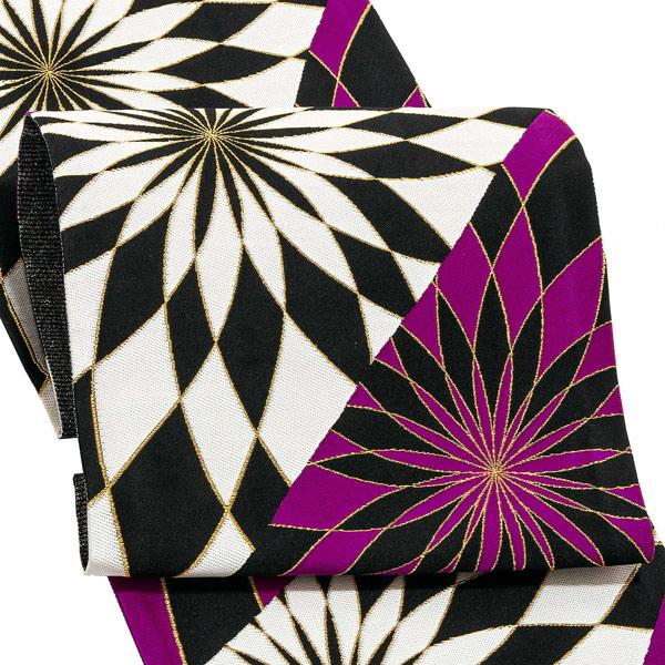 振袖 帯 「紫、黒 スパイラル菊」 日本製 西陣織 証紙番号2392 絹 未仕立て 六通柄 振袖用 袋帯 振袖帯 <T>【メール便不可】