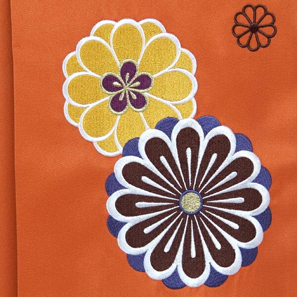 袴 単品 「橙 菊の刺繍 Sサイズ 小さいサイズ」 卒業式 袴 レディース 行燈袴 女性用袴単品 【メール便不可】