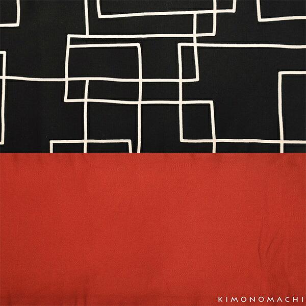 木綿半幅帯「黒地 スクエア」 木綿帯 半巾帯 コットン細帯 コットン帯 仕立て上がり帯 カジュアル 洒落帯 【メール便不可】