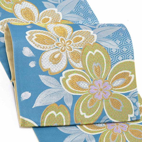 振袖 帯 「青色 雪輪に桜」 日本製 西陣織 証紙番号2293 絹 未仕立て 六通柄 振袖用 袋帯 振袖帯 <T>【メール便不可】
