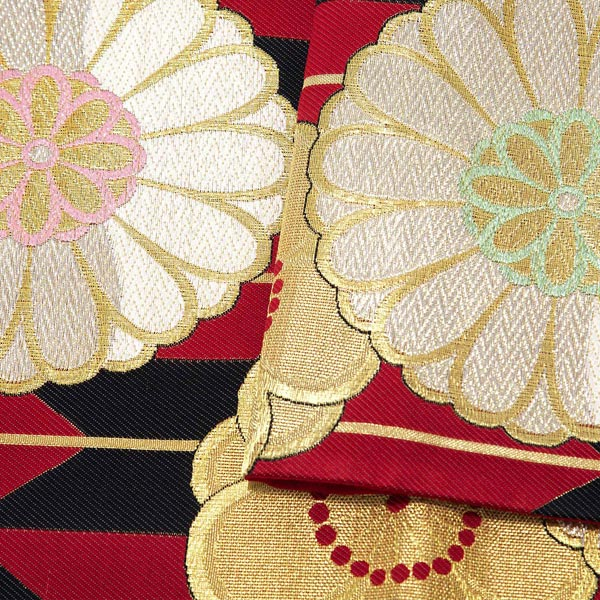 振袖 帯 「赤地 矢羽根、菊花」 日本製 西陣織 証紙番号2362 絹 未仕立て 六通柄 振袖用 袋帯 振袖帯 <T>【メール便不可】