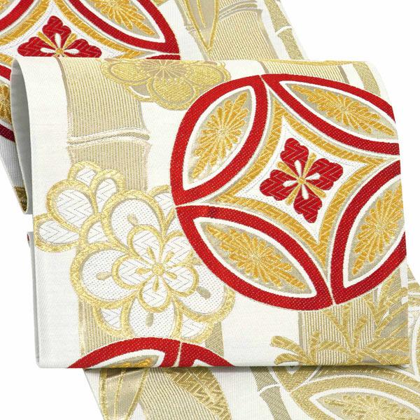 振袖 帯 「白地 竹に七宝」 日本製 西陣織 証紙番号2362 大光株式会社謹製 絹 未仕立て 六通柄 振袖用 袋帯 振袖帯 <T>【メール便不可】