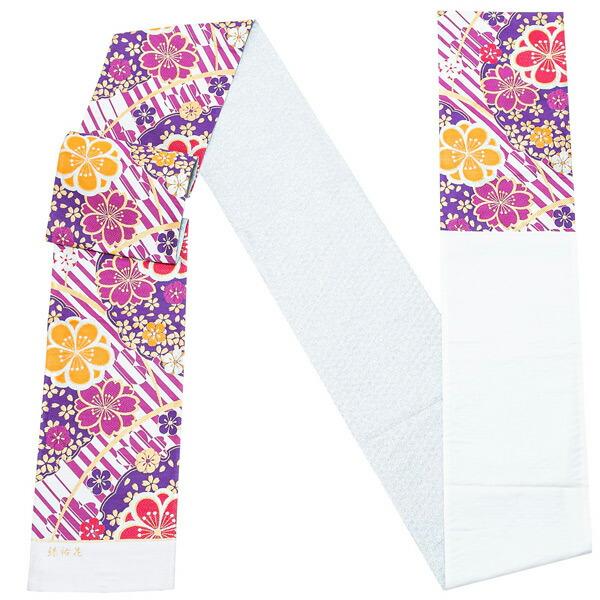 振袖 帯 「白×紫 桜と八重梅」 日本製 西陣織 証紙番号2294 株式会社京洛苑たはら謹製 絹 未仕立て 六通柄 振袖用 袋帯 振袖帯 <T>【メール便不可】