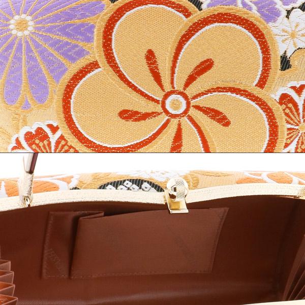 振袖 草履 バッグ 成人式 「金×黒 ねじ梅に桜 金鷲」 帯地使用 草履Lサイズ 24cm前後 二枚芯 低反発草履 女性用 レディース 振袖用草履バッグセット <T>【メール便不可】