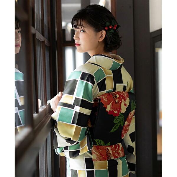 京袋帯 単品 数量限定 KIMONOMACHI オリジナル 「黒地 牡丹」 ポリエステル 名古屋帯 普段着着物用 【メール便不可】