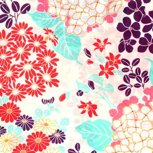 浴衣 レディース 単品 「クリーム色地 赤菊、花々」 フリーサイズ レトロ モダン 大人柄 女性浴衣単品 女浴衣 ゆかた yukata 【メール便不可】