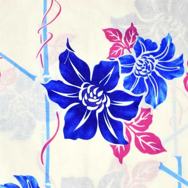 浴衣 レディース 単品 「クリーム色地 鉄線に竹垣、ブルー」 フリーサイズ レトロ モダン 大人柄 女性浴衣単品 女浴衣 ゆかた yukata 【メール便不可】