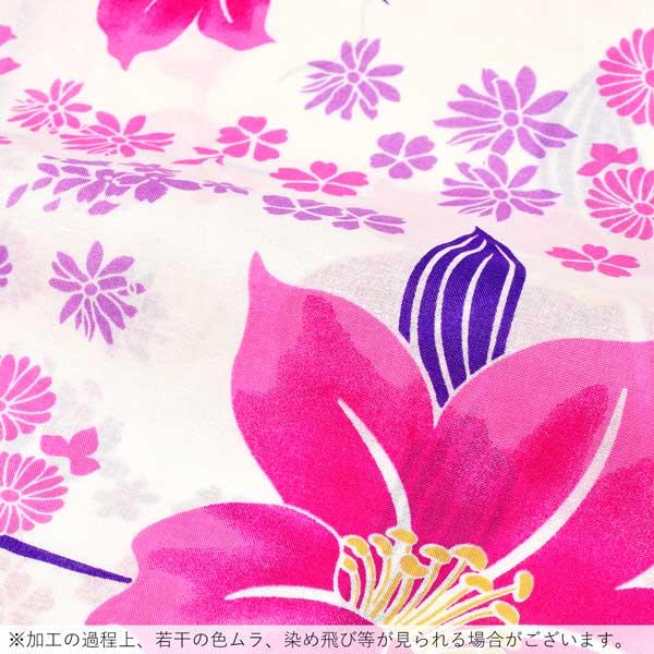 浴衣 レディース 単品 「白地 花に芝」 フリーサイズ レトロ モダン 大人柄 女性浴衣単品 女浴衣 ゆかた yukata 【メール便不可】