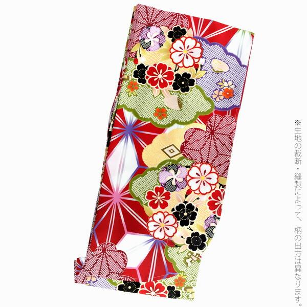 二尺袖着物 単品 「赤地、麻の葉 雲に梅、桜」 お仕立て上がり レディース 洗える着物 二尺袖 着物 袴に合わせて 卒業式 謝恩会に <H>【メール便不可】