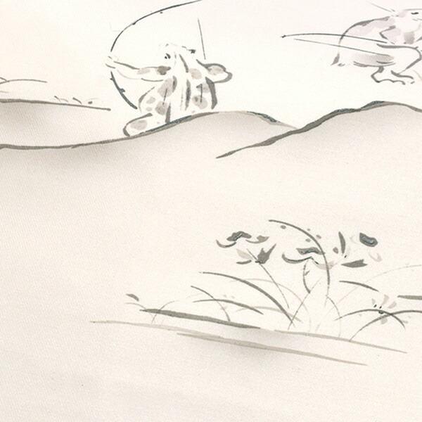 正絹名古屋帯 「オフ白 鳥獣戯画風」 お仕立て上がり名古屋帯 お太鼓柄 洒落帯 九寸名古屋帯 カジュアル レディース 洒落帯 【メール便不可】