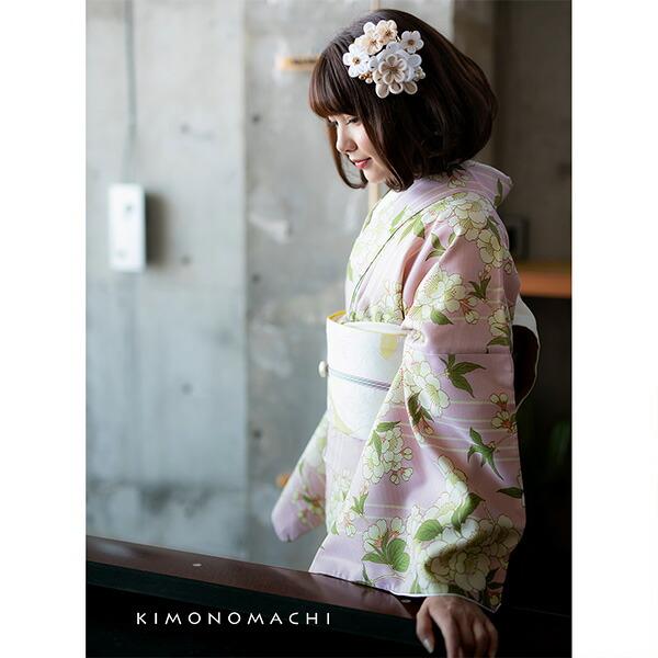 洗える着物 セット 「袷着物:桜 ピンク+京袋帯:日向の白猫」 KIMONOMACHI オリジナル 着物と帯の2点セット サイズS/M/L/TL/LL コーディネート済み着物セット 小紋 レディース キモノ 【メール便不可】