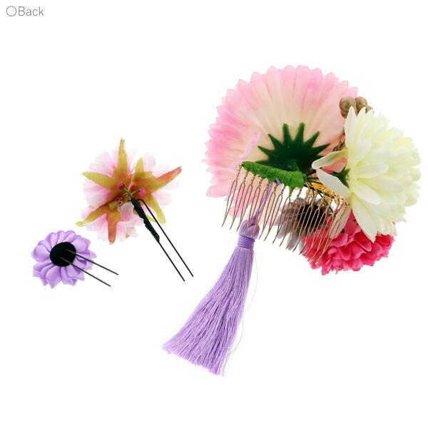 髪飾り 成人式 「コーム髪飾りとUピンの髪飾り3点セット お花とリボンつまみ ピンク」 振袖用髪飾り お花髪飾り 卒業式 結婚式 着物 【メール便不可】
