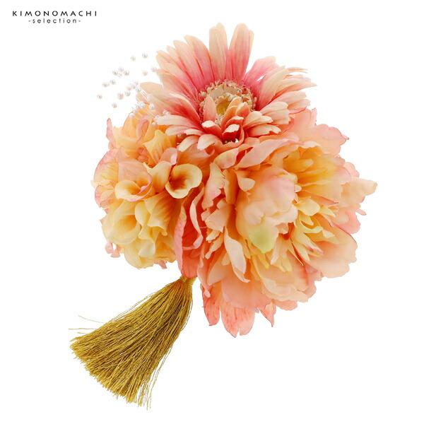 髪飾り 成人式 「コーム髪飾り アプリコット ブーケ」 振袖用髪飾り お花髪飾り 卒業式 結婚式 着物 【メール便不可】
