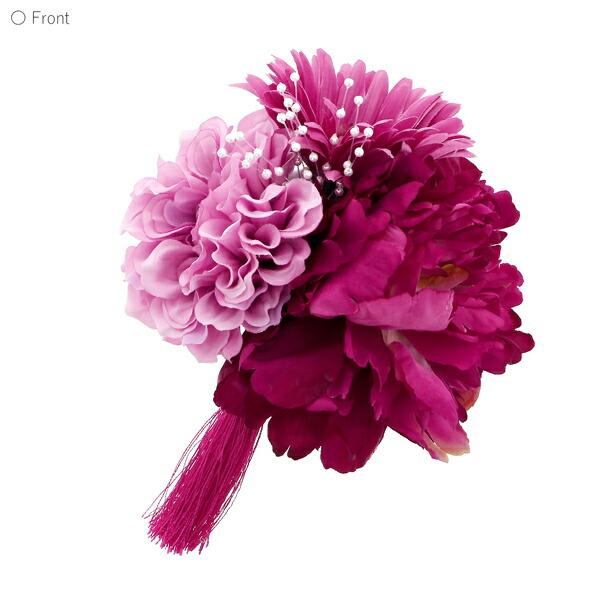 髪飾り 成人式 「コーム髪飾り ワイン ブーケ」 振袖用髪飾り お花髪飾り 卒業式 結婚式 着物 【メール便不可】