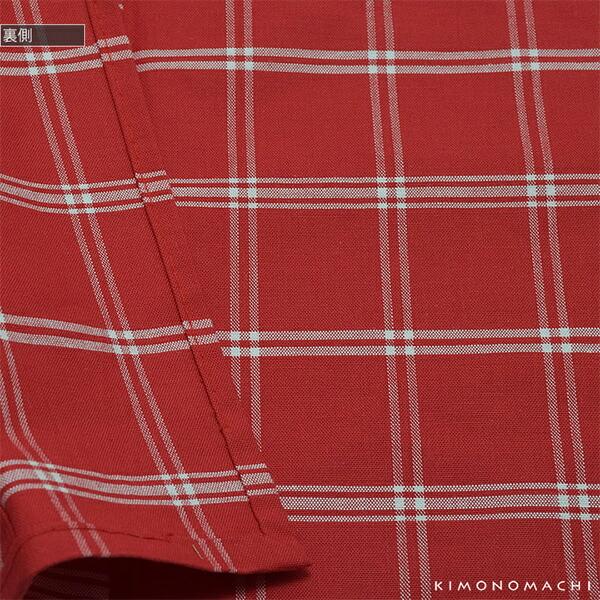 洗える着物 木綿着物 単品 「赤色×白色格子」 お仕立て上がり オリジナル レディース 単衣着物 コットン プレタ着物 【メール便不可】