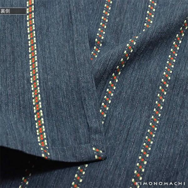 洗える着物 木綿着物 単品 「紺色チロリアン」 お仕立て上がり オリジナル レディース 単衣着物 コットン プレタ着物 【メール便不可】