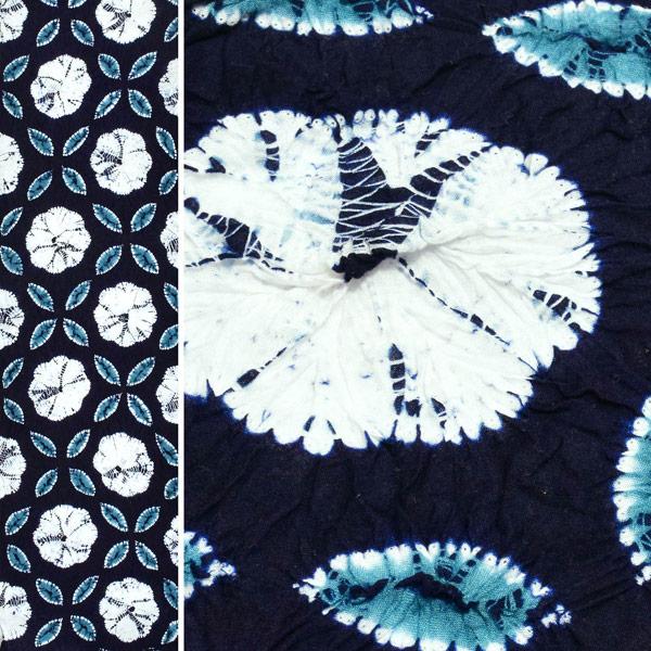 伝統工芸品 有松絞り 絞り浴衣反物 「七宝ボーロ花」 有松・鳴海絞 女性浴衣 レディース浴衣 絞り浴衣 綿浴衣 未仕立て【メール便不可】