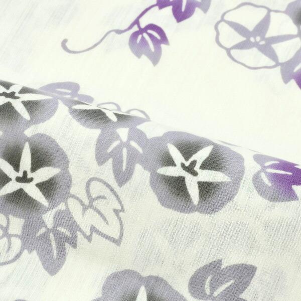浴衣 レディース ブランド浴衣単品 「つやび×雅姫 クリーム色地 グレー朝顔 20TM-12」 日本製 フリーサイズ レトロ モダン 大人柄 女性浴衣単品 変わり織り浴衣 女浴衣 ゆかた yukata <H>【メール便不可】