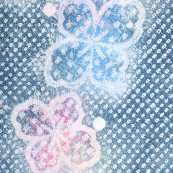 【訳アリ/B品】 お仕立て上がり絞り浴衣単品 「紺鼠色 花菱」 有松絞り 女性浴衣 レディース浴衣 綿 お仕立て上がり浴衣【メール便不可】