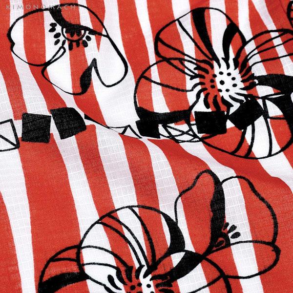 浴衣 子供 女の子 子供浴衣セット(浴衣+帯) 浴衣2点セット 「レッド レトロフラワー」110cm/120cm/130cm/140cm/150cm 5サイズ KIMONOMACHIオリジナル 花火大会 夏祭り 夕涼み おうち時間 こども 子ども キッズ ジュニア ゆかた 【メール便不可】