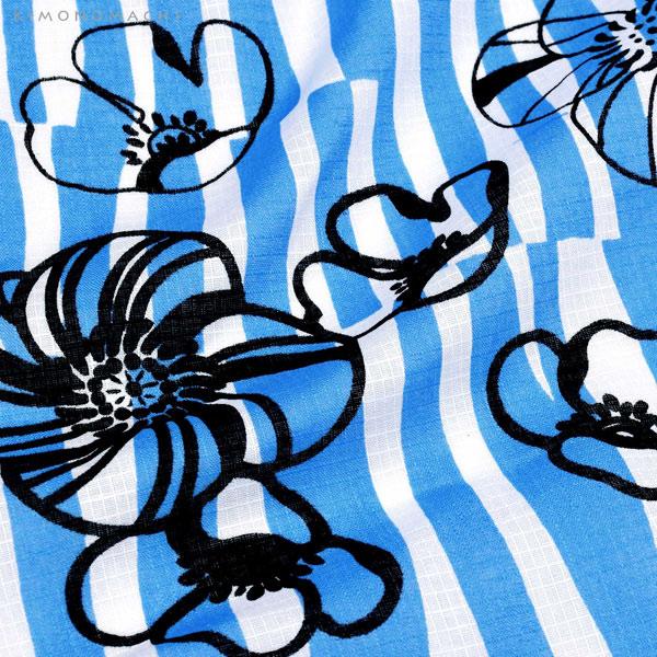 浴衣 セット レディース 大人 浴衣セット 浴衣2点セット(浴衣+帯)「浴衣:ブルー レトロフラワー+帯:リバーシブル 変わりストライプ ブラック」 大人柄 個性的 レトロモダン 花火大会 夏祭り 女性用浴衣 女性浴衣 ゆかた yukata 【メール便不可】