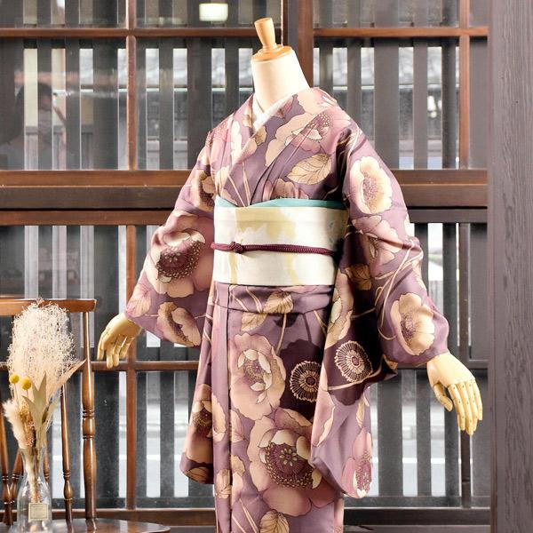 二尺袖着物 単品 「ポピー 浅紫色」 KIMONOMACHIオリジナル お仕立て上がり レディース 洗える着物 二尺袖 着物 袴に合わせて 卒業式 謝恩会に 通常丈 長着 カジュアル着物 【メール便不可】