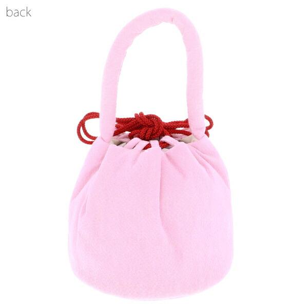 七五三 女の子 巾着 バッグ 単品「ラズベリーレッド・ピンク・黒色 お花の刺繍 全3色」 ちりめん 刺繍入り 3歳 7歳 女児 七五三小物 和装 着物 <H>【メール便不可】
