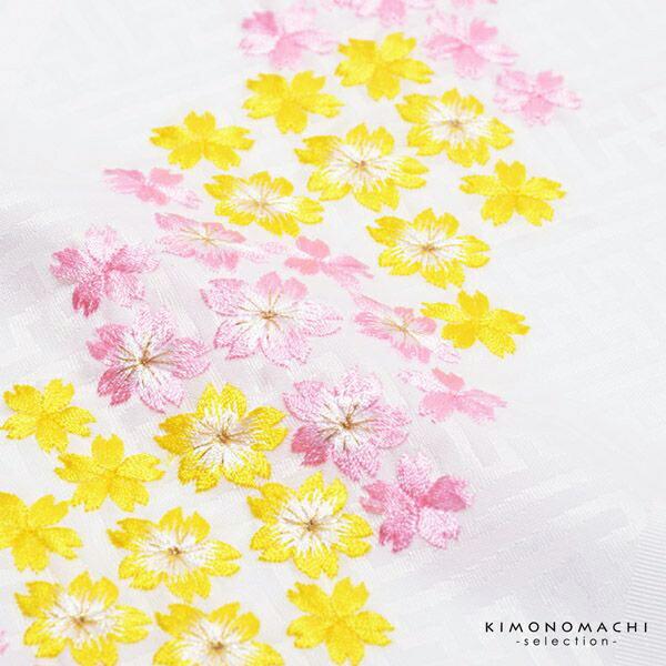 七五三 女の子 刺繍半衿 単品「桜の刺繍 白地・赤地/ピンク×黄色・ピンク・赤×ピンクの刺繍 全4種」 日本製 子供用 刺繍半襟 七五三小物 女児 <H>【メール便対応可】