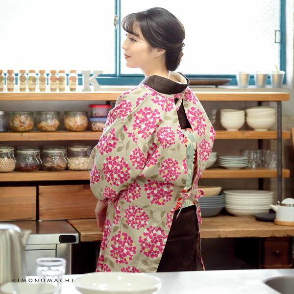 ロング丈 割烹着「ビスケット ブーケ」日本製 オシャレ かわいい 綿割烹着 ロング割烹着 着物割烹着 エプロン プレゼント最適品 【送料無料】【メール便対応可】