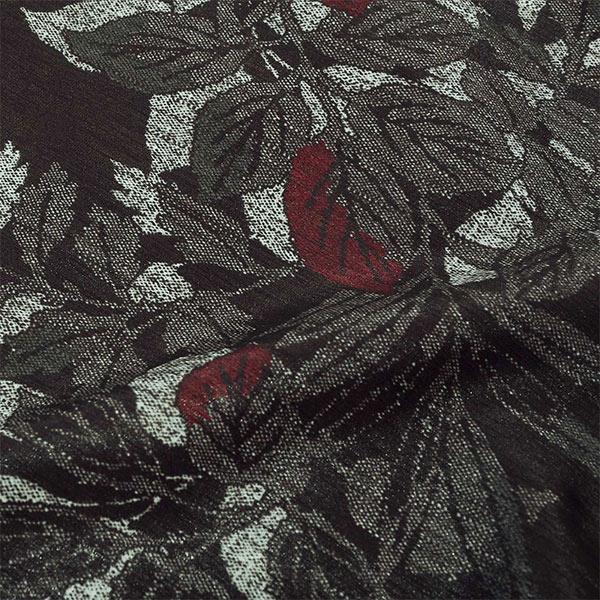洗える着物 袷着物 単品 「濡れ羽色 葉文様 TM-18」 お仕立て上がり レディース カジュアル着物 ポリエステル着物 プレタ着物 【メール便不可】