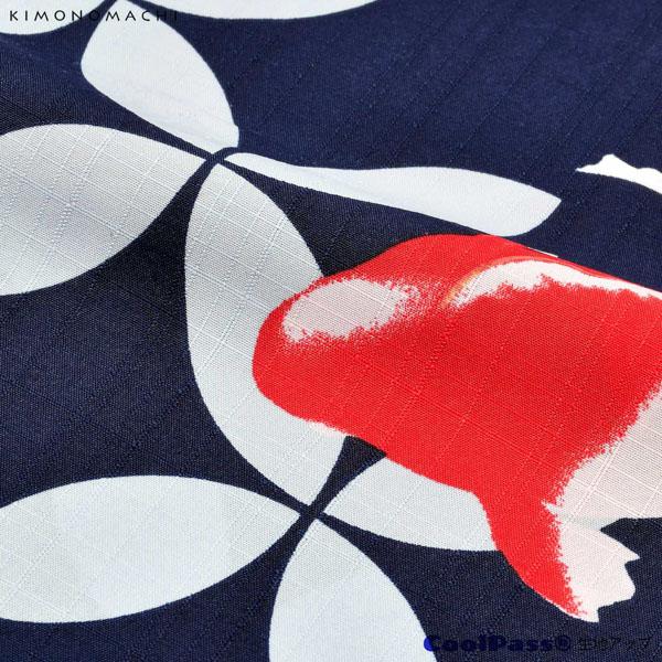 浴衣 セット レディース 吸水速乾 CoolPass ポリエステル浴衣 浴衣と帯と刺繍下駄の3点セット 「ネイビー 七宝金魚」 Fサイズ LLサイズ 大人 ポリ浴衣 個性的 花火大会 夏祭り 女性浴衣 女性ゆかた 夏着物 単衣着物 京都きもの町オリジナル KIMONOMACHI 【メール便不可】