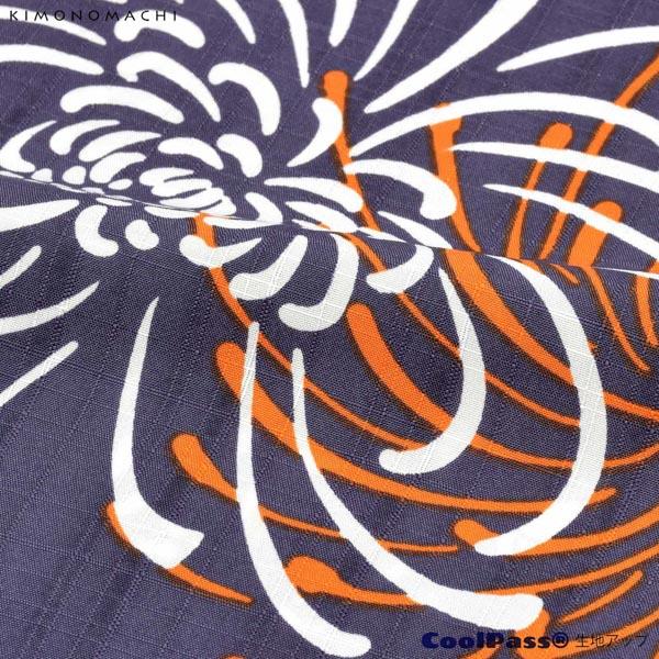 浴衣 セット レディース 吸水速乾 CoolPass ポリエステル浴衣 浴衣と帯と刺繍下駄の3点セット 「藤褐色 花火菊、橙」 Fサイズ LLサイズ 大人 ポリ浴衣 個性的 花火大会 夏祭り 女性浴衣 女性ゆかた 夏着物 単衣着物 京都きもの町オリジナル KIMONOMACHI 【メール便不可】