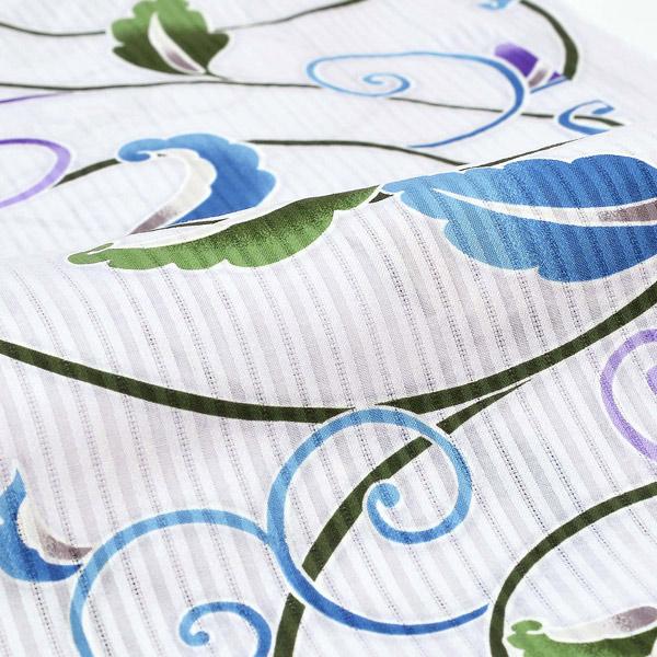 Watuu(和つう) 浴衣単品 「白地 唐花、渦巻 w1902」 大人浴衣 Fサイズ フリーサイズ 女性用 女性浴衣 ゆかた 【メール便不可】