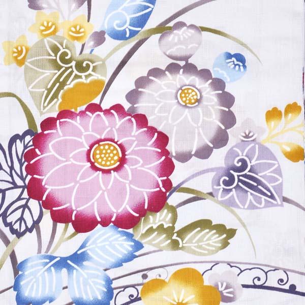 Watuu(和つう) 浴衣単品 「薄灰色 型染め調の菊、花の丸 w1905」 大人浴衣 Fサイズ フリーサイズ 女性用 女性浴衣 ゆかた 【メール便不可】