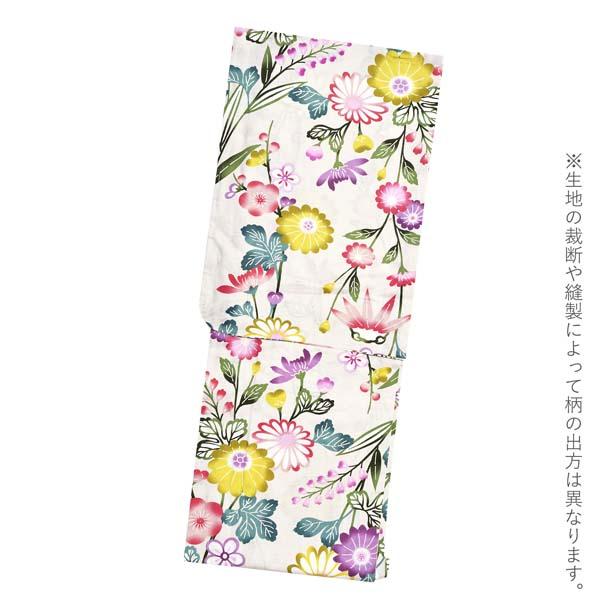 Watuu(和つう) 浴衣単品 「生成り色 型染め調の菊、梅 w1907」 大人浴衣 Fサイズ フリーサイズ 女性用 女性浴衣 ゆかた 【メール便不可】