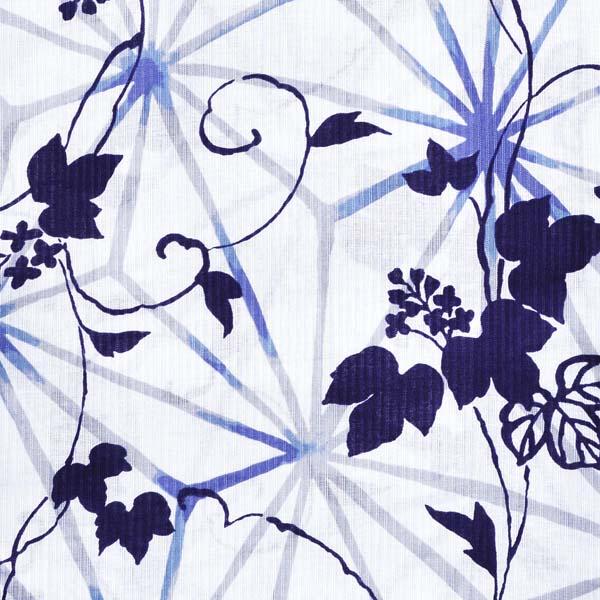 市田ひろみ 浴衣単品 「薄青×紺 麻の葉に葛 i1901」 大人浴衣 Fサイズ フリーサイズ 女性用 女性浴衣 ゆかた 【メール便不可】