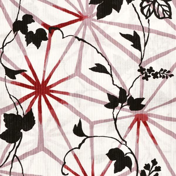 市田ひろみ 浴衣単品 「赤×黒 麻の葉に葛 i1902」 大人浴衣 Fサイズ フリーサイズ 女性用 女性浴衣 ゆかた 【メール便不可】