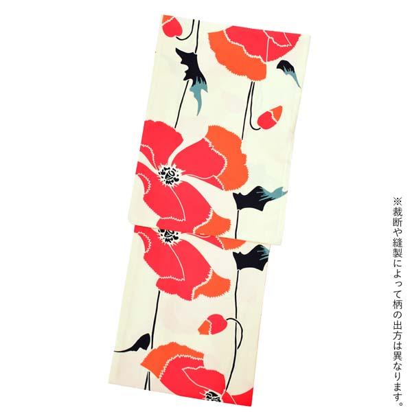 レディース 浴衣2点セット(浴衣+帯) 「浴衣 ピンク 芥子+半幅帯 蝶 ネイビーブルー」 きもの町オリジナル 【メール便不可】