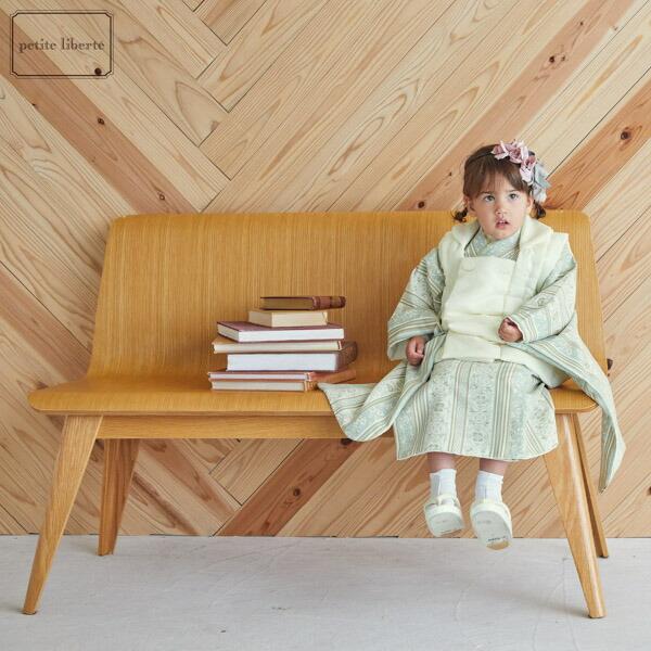 七五三 着物 3歳 女の子 ブランド被布セット petite liberte プチリベルテ 「クリーム、更紗縞ブルー×ベージュ」 三歳女児被布セット 子供着物 フルセット 三才のお祝い着 3才向け【送料無料】 【メール便不可】