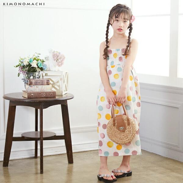 01浴衣:生成り色 バブルドット、ピンクモカ+帯:アーモンド