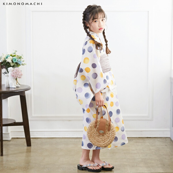 02浴衣:生成り色 バブルドット、ブルーグレー+帯:ベージュグレー