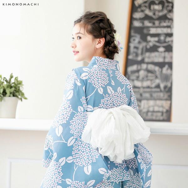 04浴衣:あじさい シャドウブルー+帯:ホワイト