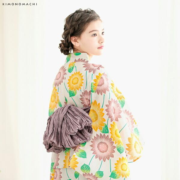 05浴衣:生成り色 ひまわり、黄×ピンク+帯:アーモンド